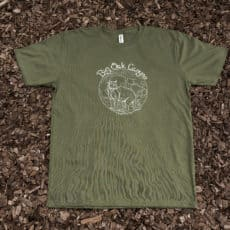 Dark green men's t-shirt with mountain lion design on top of mulch