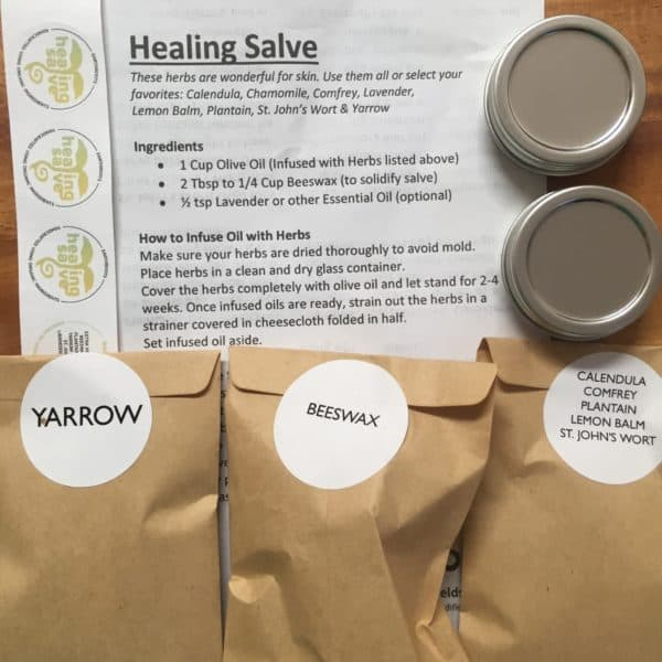 Herbal healing salve kit materials
